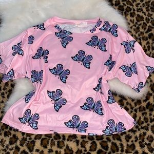 Pretty pink butterfly top